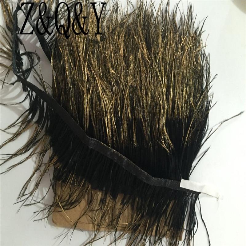 Z & Q & Y новый натуральный 10-15 см (4-6 дюймов) черный Страус волос распыляется золото головы из ткани 2 м DIY украшения одежды