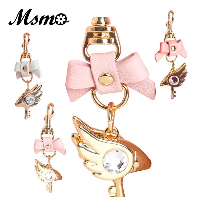MSMO Cardcaptor Sakura 20th Anniversary Bowknot Golden Jewelry Keychain Pendant Bag Charms Handbag Accessory Purse Ornament kinomoto sakura kero keruberosu ri syaoniang anime cardcaptor sakura japanese rubber keychain