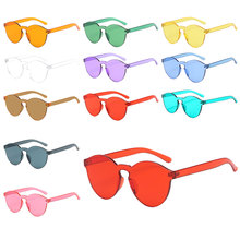 1PCS Summer Retro Candy Color Transparent Clear Trendy Sunglasses Women Travel Accessories Men Frameless Eyewear