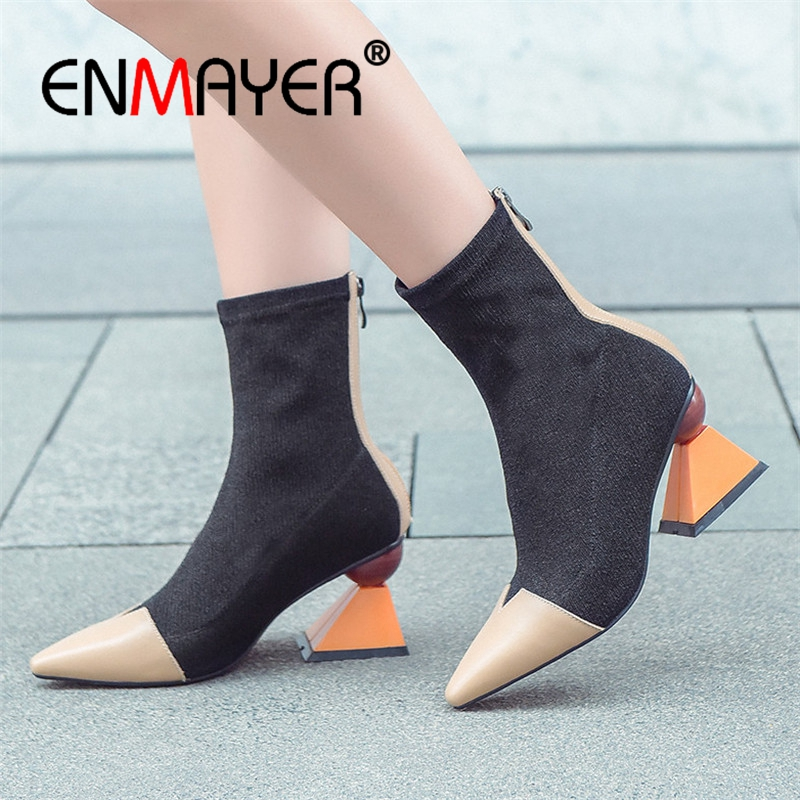 ENMAYER Women Ankle Boots Short Shoes Size 34-39 Pointed toe High Heels Boots for Female Strange Heels Fashion Boots Sale CR727 enmayer high heels pointed toe spring