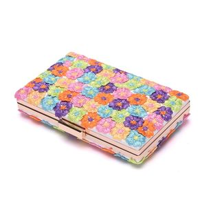 Image 4 - 크리스탈 퀸 여러 가지 빛깔의 꽃 빛나는 여자 샌들 웨딩 신발 일치하는 가방 클러치 14 cm 하이힐 여성 펌프 파티