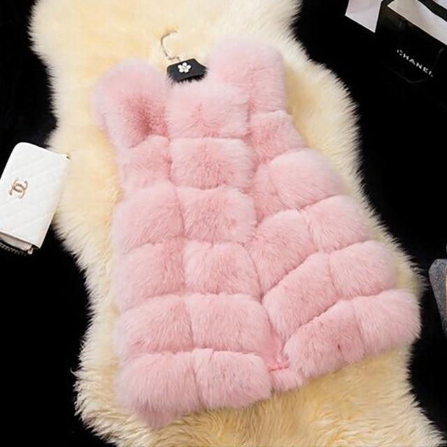 FLULU Winter Casual Faux Fur Coat Women 2018 Vintage Fashion Warm Slim Sleeveless Coat Solid Vest Female Jacket casaco feminino 4