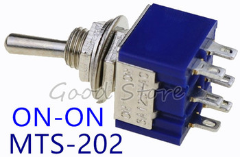 Deep Blue Mini 6 Pin 2 Position Toggle Switches ON-ON DPDT Mini Toggle Switch 6A/125V 3A/250V AC MTS-202 Navy SL image