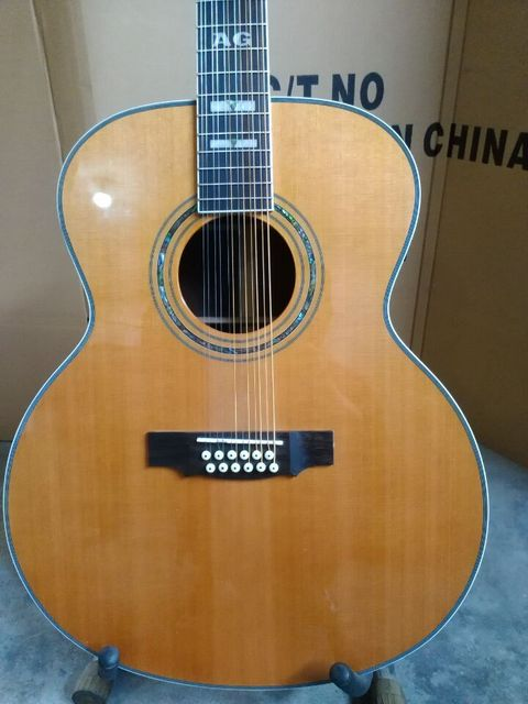 8sounds music free shipping best quality solid cedar top left handed 12 string acoustic electric guitar