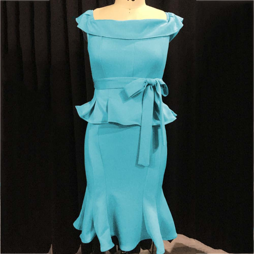 Plus Size Women Dress Party Elegant Vintage Office Retro Bodycon Dresses Off Shoulder Plain Female African Style Dress 4XL 5XL in Dresses from Women 39 s Clothing