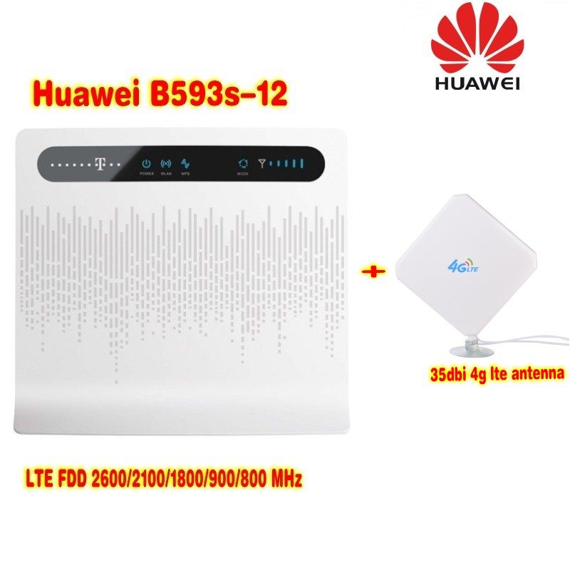 Unlocked Huawei B593 B593s-12 4G LTE 100Mbps CPE Router with External 4G Antenna 49dbi
