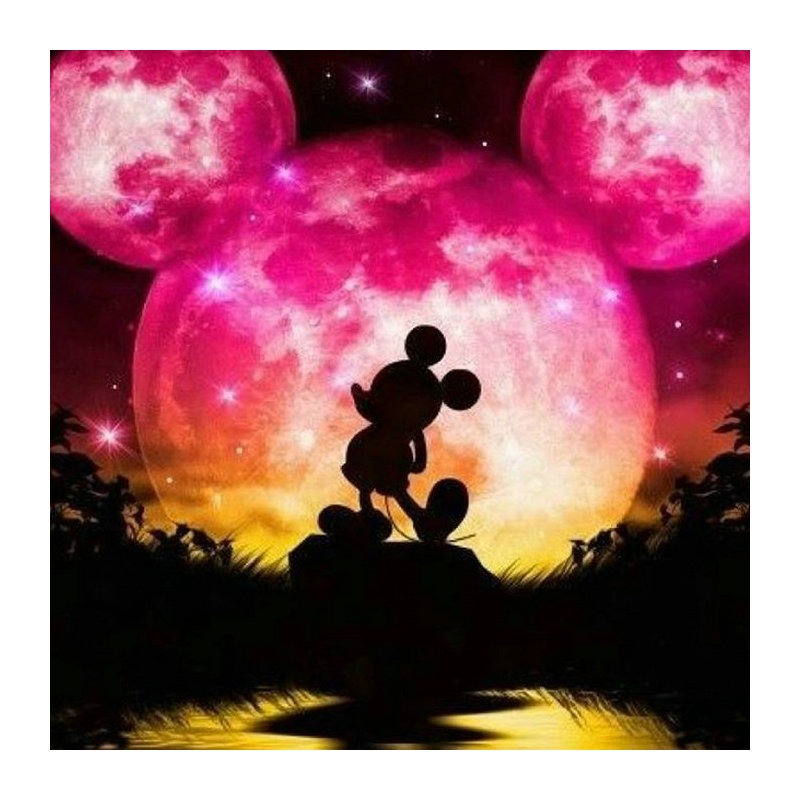 5D Diamond Painting Mickey /& Minnie Silhouette Castle in Pink Kit