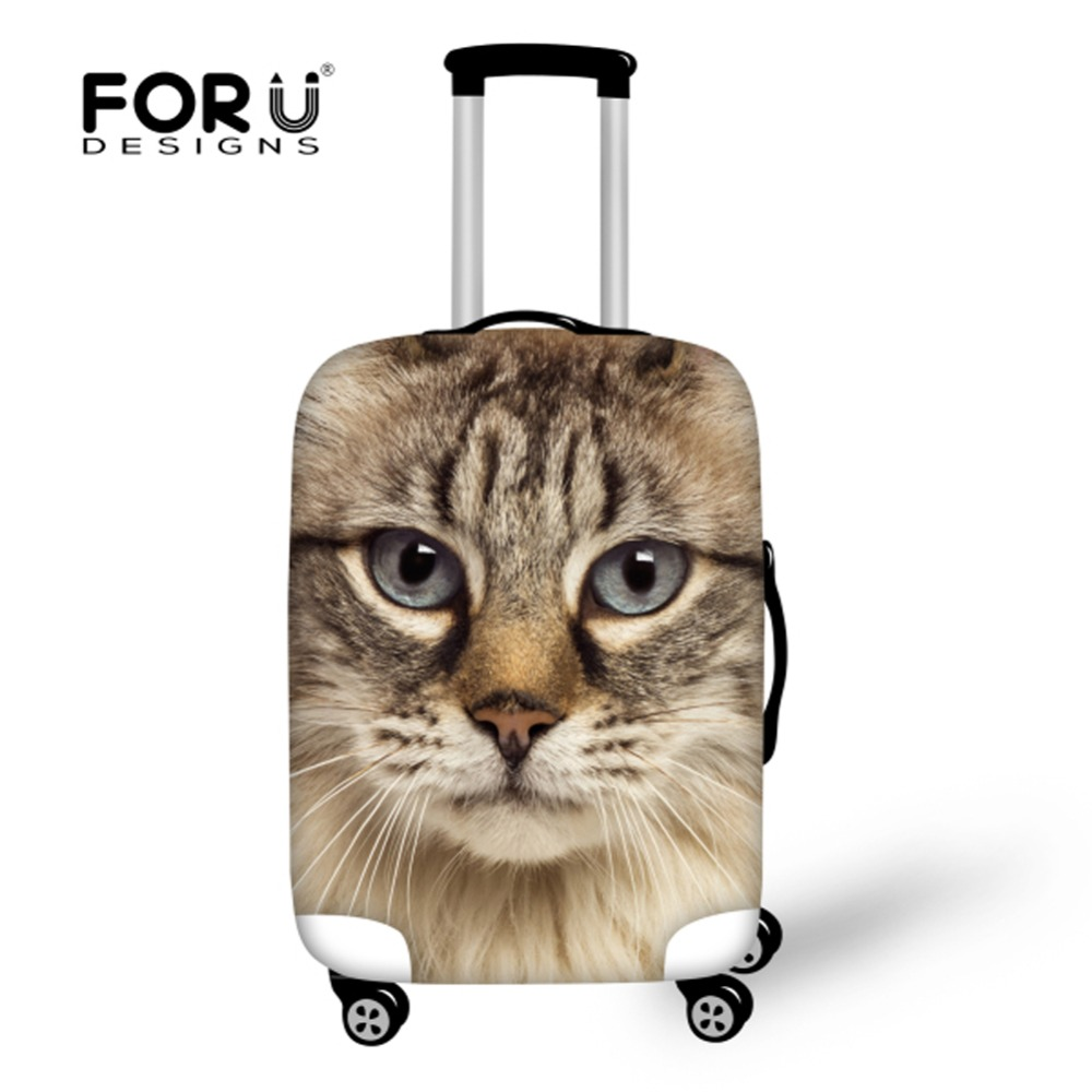FORUDESIGNS Waterproof Luggage Protective Dust Cover Cute Printing Cat Elastic Suitcase Cover to 18/20/22/24/26/28/30 Trunk Case