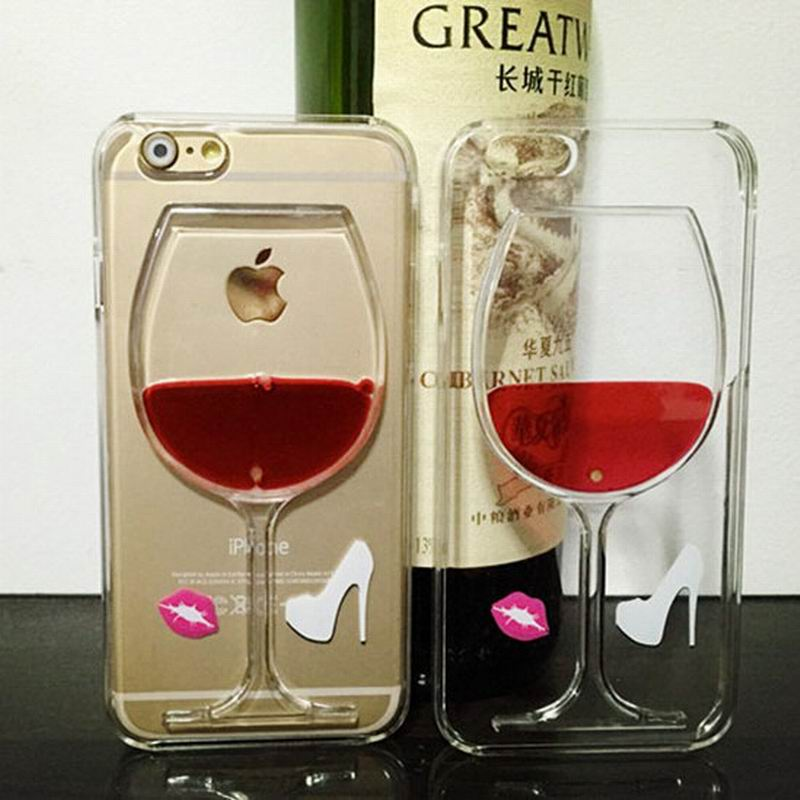 LOVECOM New Hot Liquid Quicksand Red Wine Glass Clear Transparent Phone Case Hard Phone Bags & Cases For iPhone 5 5S SE YC253
