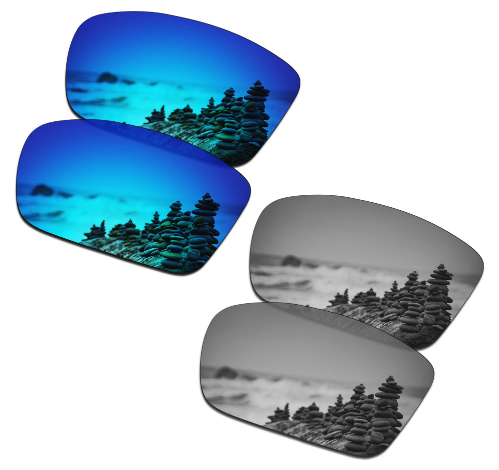 SmartVLT 2 Pairs Polarized Sunglasses Replacement Lenses for Oakley Conductor 6 Ice Blue and Silver Titanium