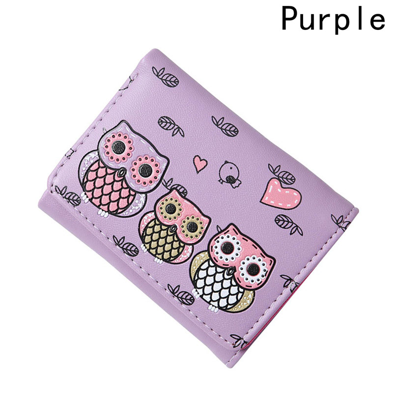 PU Vintage Printing Cartoon Owl Coin Purse 2018 New Design Embroidery Hasp Fashion Women Wallet Leather Clutch Bags