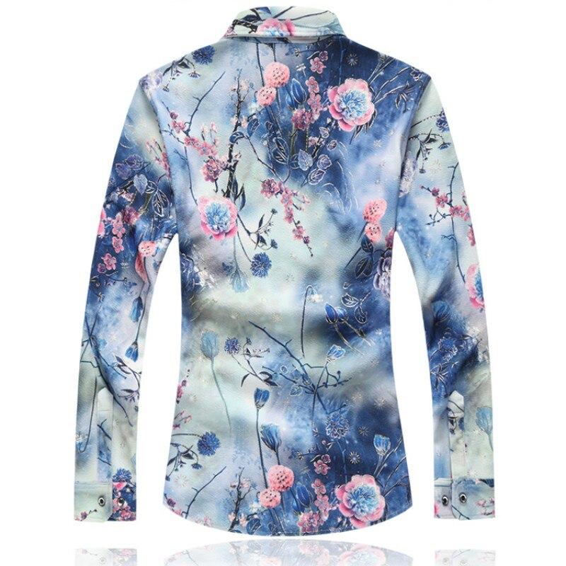 Image 4 - Мужская рубашка с длинным рукавом, Свободная Повседневная рубашка  с отложным воротником, большие размеры, осенние мужские рубашки с  цветочным узором 7XL 6XL M, 2020mens floral shirtshirt 7xlcasual  shirt men