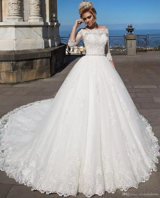 96ffc328697d 2018 New Arabic 3/4 Long Sleeves Ball Gown Wedding Dresses Illusion Off  Shoulder Lace