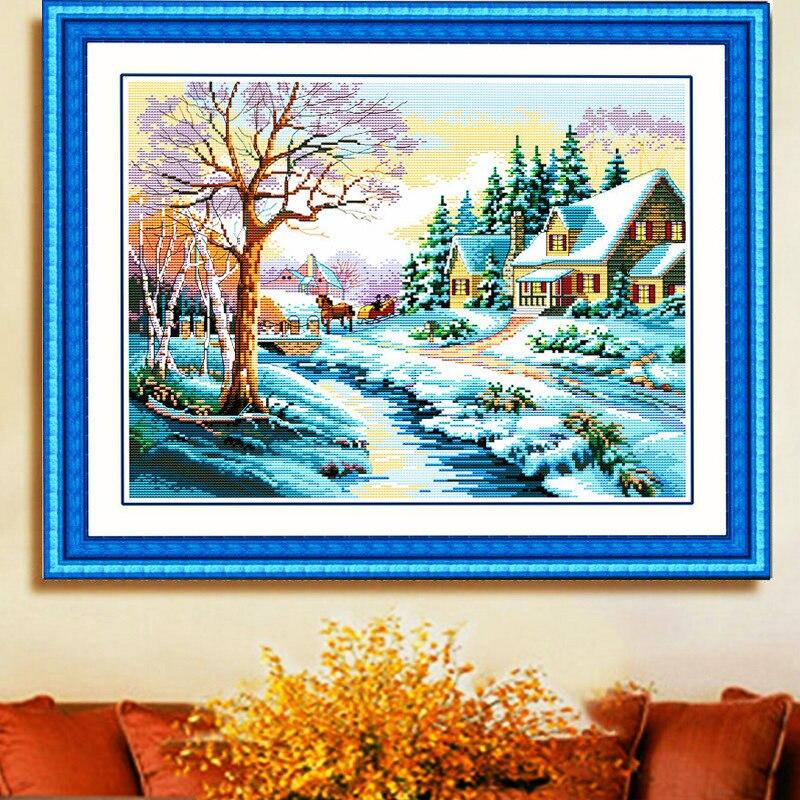 Hiver neige scène imprimé toile compté point de croix Kits coton fil point de croix ensemble broderie peinture couture