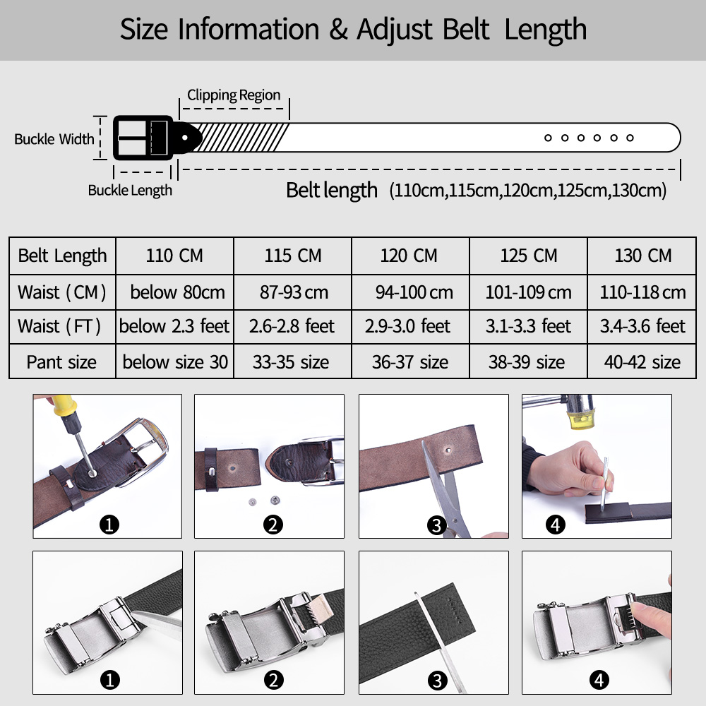 Image 5 - BIGDEAL No Buckle 3.5cm Wide Real male Genuine Leather Belt Without Automatic Buckle Strap Designer Belts leather belt menMens Belts   -