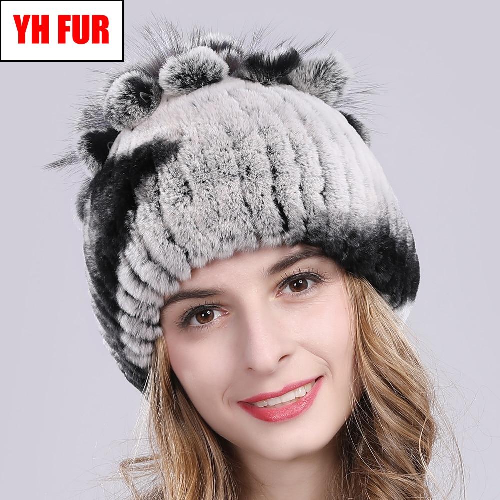 2019 Russia Hot Sale Winter Real Fur Beanies Hat Women 100% Genuine Real Rex Rabbit Hat Good Elastic Knitted Rex Rabbit Fur Caps