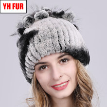 2019 Russia Hot Sale Winter Real Fur Beanies Hat Women 100% Genuine Real Rex Rabbit Hat Good Elastic Knitted Rex Rabbit Fur Caps(China)