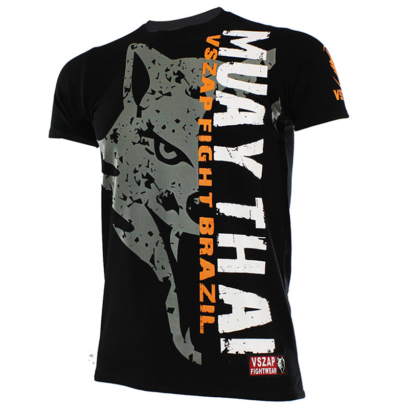 Muay Thai  T Shirt VSZAP FIGHT BRAZIL MMA Jerseys Boxing Team T Shirts Running Gym Black Tees