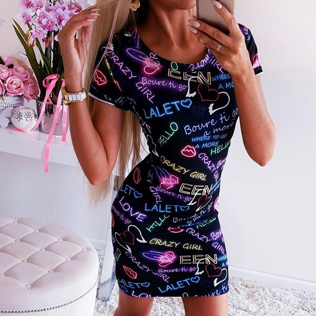 Women Summer Dress Sexy O neck Print Holiday Party Dress bodycon dresses woman party night Mini beach dresses vestidos verano|Dresses| - AliExpress