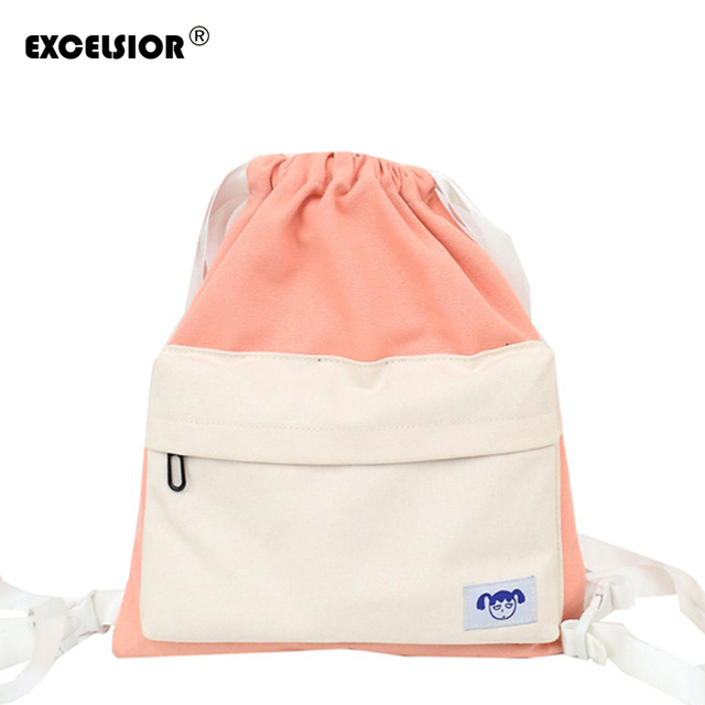 EXCELSIOR 2018 New School Bags for Women Couple Drawstring Korean Version Patchwork  Canvas Backpack Fashion Women Bag G1744 fa0c76837136b