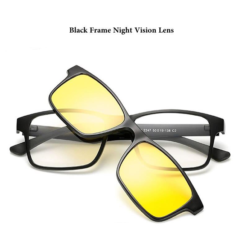 a7ed795039 Men Polarized Magnetic 3PCS Clip TR90 Myopia Glasses Lightest Eyeglasses  Frame Man Sunglasses Magnet Clip Spectacles Night Vison-in Sunglasses from  Apparel ...
