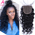Brazilian Lace Closure Free Middle Three Part Lace Closure Bleached Knots 4x4 Brazilian Loose Wave Human Hair Lace Closure