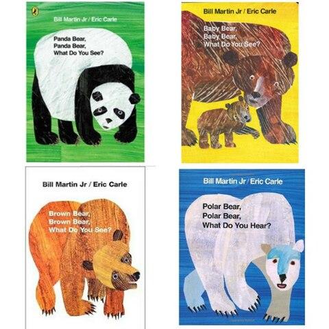 4 pcs set educacional ingles picture book set urso cartao de aprendizagem livro de historia
