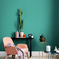 beibehang New nordic style ins wind wallpaper modern minimalist non woven plain solid color Mediterranean peacock blue wallpaper
