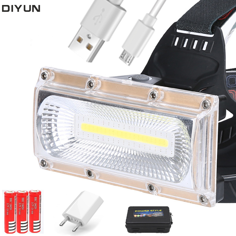 60000LM Floodlight COB LED Headlamps  LED Headlight Camping Head Torch 3Modes Head Lantern 3*18650 Rechargeable Frontal HeadLamp