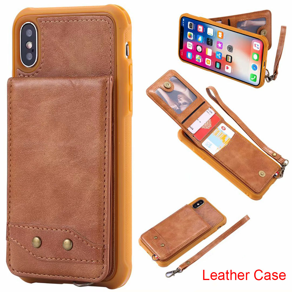 Leather Case with Card Pocket for Samsung Galaxy S8 S9 Plus Hand Strap Lanyard Holder Stand Case for iPhone X 8 7 6s 6 Plus