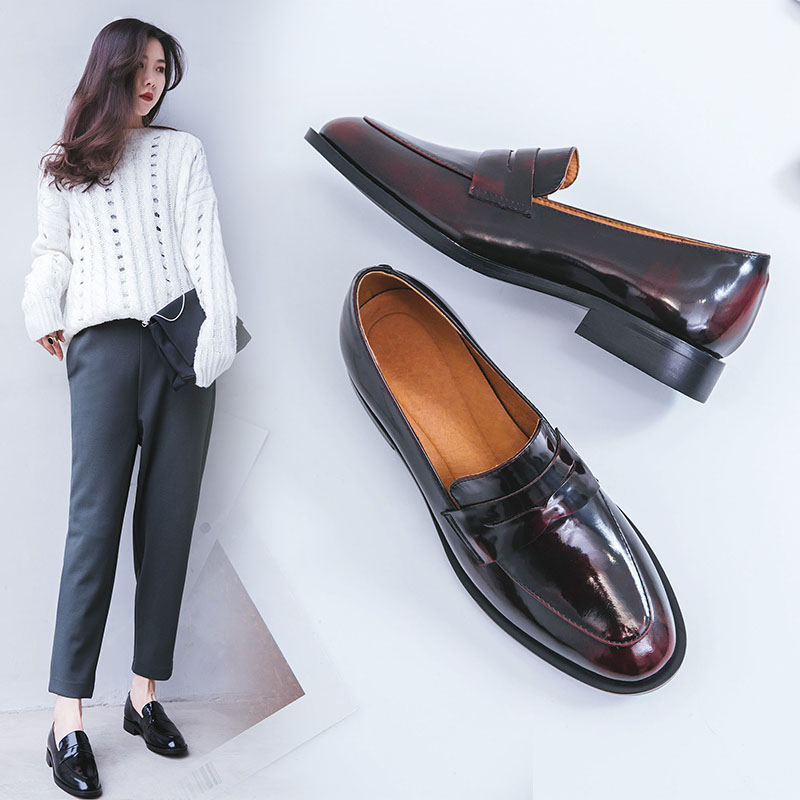 VNGULL Real Leather Shoes British Style Brock Small Shoes, Leather Shoes, Loafers, Lazy Shoes, Casual, Simple College Style
