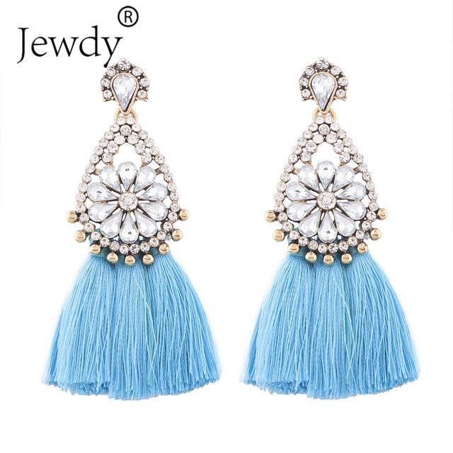 Jewdy2017 New Fashion Jewelry Tassel Dangle Earrings Cheap Wedding Bohemian Drop Statement For Women Flowers
