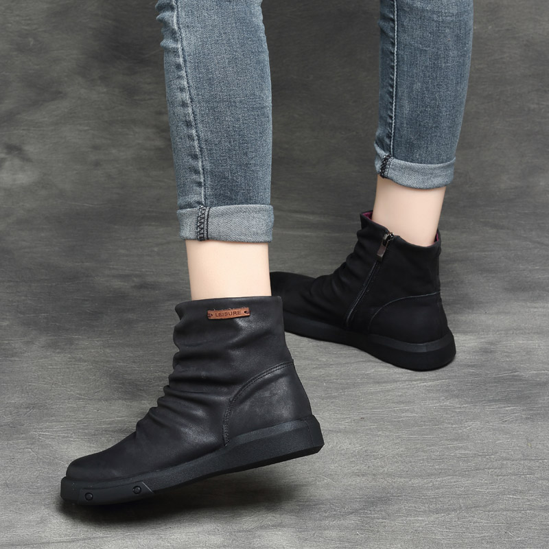 Women Leather Ankle Boots Black Low Heels Soft Genuine Leather Women Martin Boots Winter Shoes Handmade Women Retro Boots Brand цена