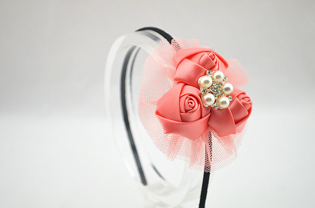 The new arrival hair accessories beautiful pink flower head with tape band 6 colors to choose children headwear hair hoop arc Girls Accessories