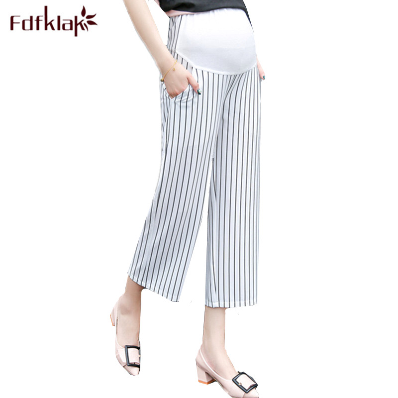 Fdfklak Fashion Striped Pregnancy Clothes Loose Maternity Pants Spring Summer Streight Pant Pregnant Pants Maternity Clothing