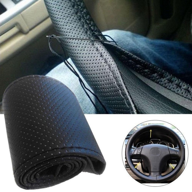 Sports Car Comfort Steering Glove Wheel Cover Black-Beige Leather For Toyota