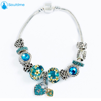 SOULTIME Brand Vintage National Wind Blue Beaded Diamonds Bracelet For Women 2017 New Glass Beads Bracelet