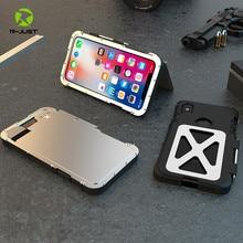 R JUST Edelstahl Heavy Duty Clamshell Flip Fällen für Apple iPhone X Outdoor Dropproof Stoßfest Abdeckung