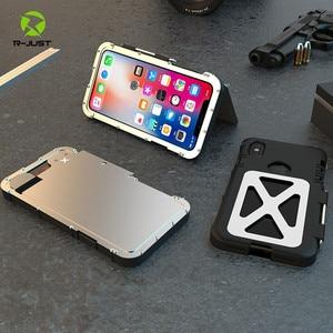 Image 1 - R JUST Roestvrij Staal Zware Clamshell Flip Cases voor Apple iPhone X Outdoor Dropproof Shockproof Cover
