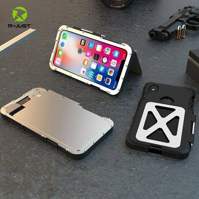 Étuis à clapet robustes en acier inoxydable de R JUST pour Apple iPhone X