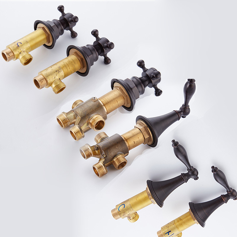 BAKALA Black Hot And Cold Water Brass Switch Valve For Bathtub Faucet Shower Mixer, Bathtub Set Faucet Bath Faucet Control Valve