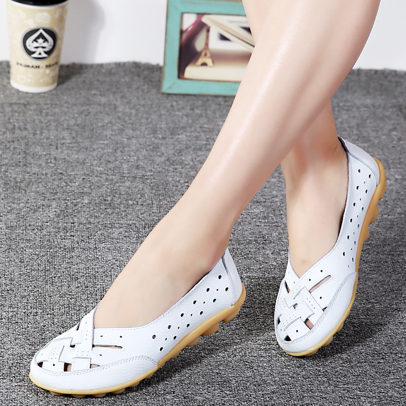 2019 Fashion Women Flats Breathable Casual Loafers Shoes Woman Genuine   Leather   Summer Shoes Flats With Hollow Out Ladies Flat