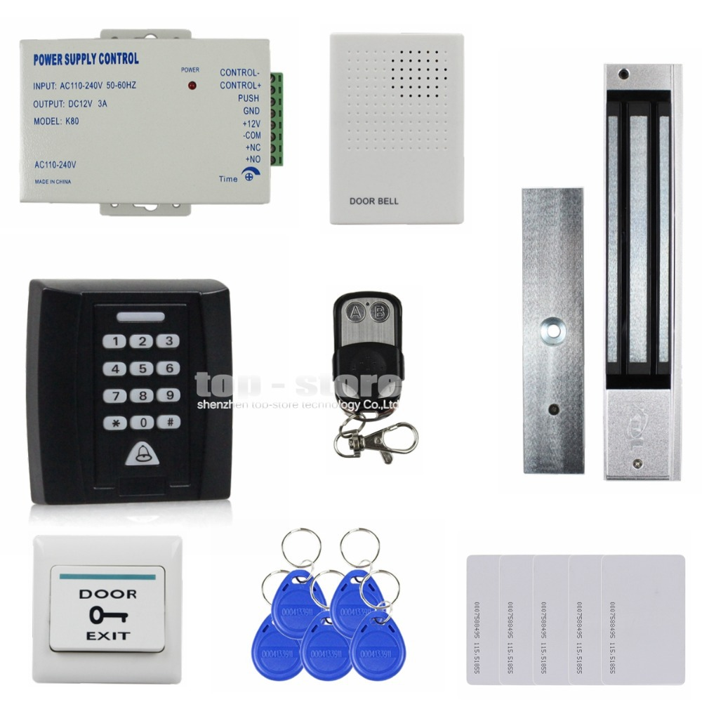 DIYSECUR Remote Control Door Bell 280kg Magnetic Lock 125KHz RFID Password Keypad Access Control System Security Kit Door Lock diysecur touch button rfid 125khz metal keypad door access control security system kit magnetic lock for home office use