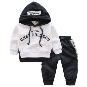 Spring Autumn Kids Cotton Clothes Sets Baby Girls Boys Sports Hooded T-Shirt Pants 2pcs/Sets Fashion Children Casual Tracksuits budingxiong 2018 brand children sets fashion ripped kids jeans unisex clothes spring autumn children s wear boys girls jeans