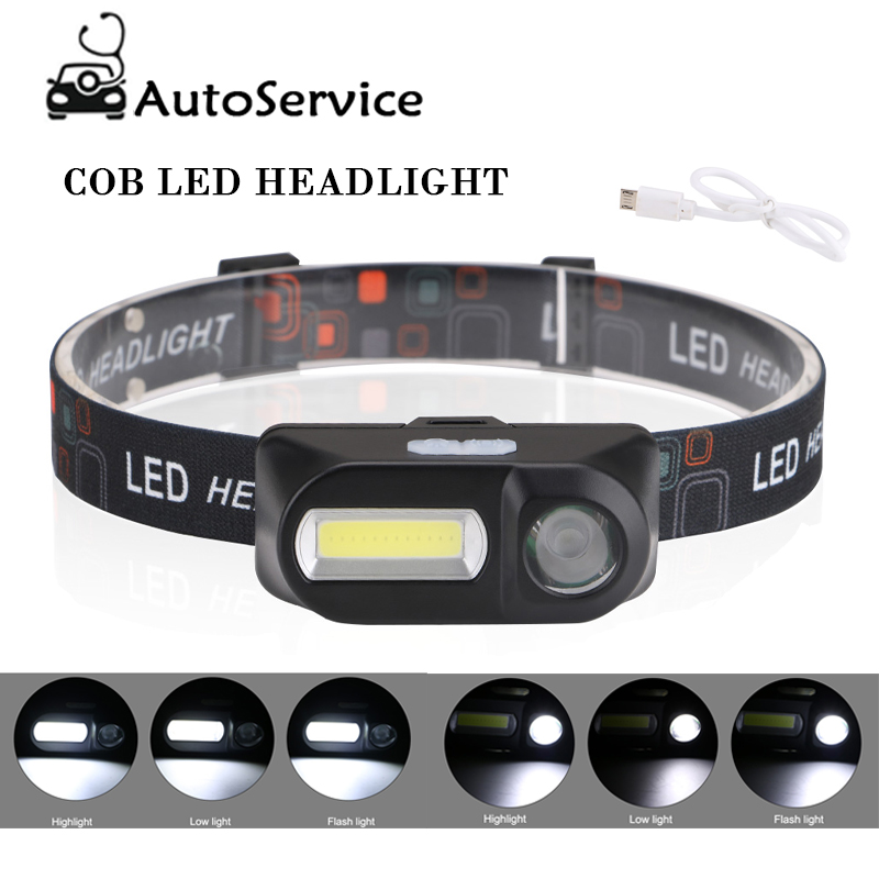 COB LED 6-mode Headlight Headlamp USB Rechargeable Mini Waterproof Flashlight For Auto Repair Outdoor Night Fishing Headlight