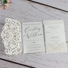 Ivory wedding invitations printing glitter silver insert card with envelop flower tri-folded laser wedding card pocket цена