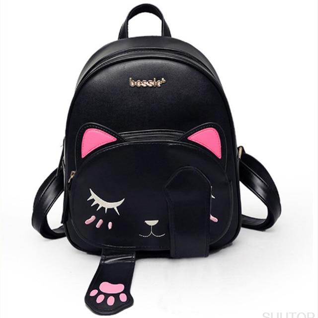 2019 New Fashion Women Cat Backpack School Backpacks Pu Leather Shoulder Bag Travel  Black beigeFunny Cat Ear Shoulder Bag