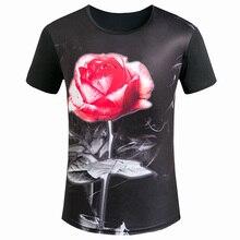Summer New Fashion Rose romantic pattern Novelty Men 3D T Shirts Streetwear Casual 3d t-shirt Man Cool O Neck tees