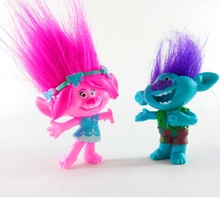 2pcs set 10cm Trolls Movie Dreamworks Toys Collectible Dolls Poppy Branch Long Hair PVC Trolls Action