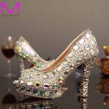 Luxus AB Kristall High Heels Frau Schuhe Mode Glitter Kristall Peep Toe Brautkleid Schuhe lady Partei Proms
